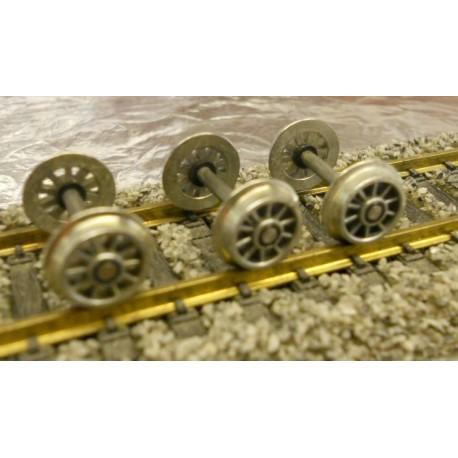 ** Jackson Romford DC 9mm 10 Spoked Inside Bearing Wheel Axle  x 1 Axle (Original)