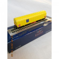 ** Liliput 265772 Transport Wagon for Coiled Steel with Yellow Sliding Tarpaulin Cover Eisenbahn und Hafen GmbH Ep V