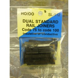 ** Peco SL-112 Duel Standard Rail Joiners Code 75 to Code 100 Insulated or Conductive.