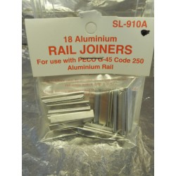 ** Peco SL-910A 18 Aluminium Rail Joiners For Use With Peco G45 Code 250 Aluminium Rail