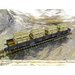 ** Fleischmann 57878704  Luxemburg CFL Four Axle Bogie Wagon with Concrete Slabs load, Blue Livery.