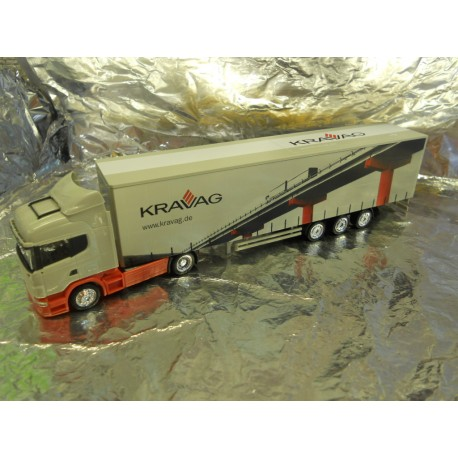 ** Herpa 288156 Scania R Jumbo Curtain Canvas Semi Truck Kravag