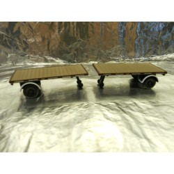 ** Oxford Diecast 76MH009T Pack of 2 Flat Trailers LMS 1:76 00 Scale