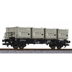** Liliput L235120 x 1 Flat Wagon BT55 with Four Containers DB Ep.III