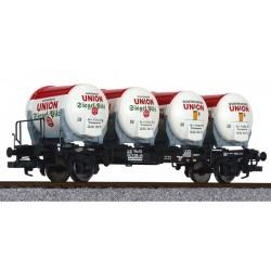 ** Liliput L235121 x 1 Flat Wagon BT55ms with Four Beer Tanks Ddikr 624 DB Ep.IV