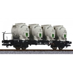 ** Liliput L235125 x 1 Flat Wagon BT55 with Brake Platform & Four Containers DB Ep.III