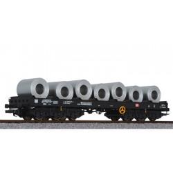 ** Liliput L235769 x 1 Steel Transport Wagon with Steel Coil Load DB Ep.IV/V