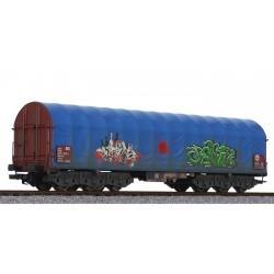 ** Liliput L235779 x 1 Steel Transport Wagon Blue Tarpaulin DB Ep.V Weathered