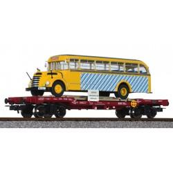 ** Liliput L235782 x 1 Flat Wagon OBB with Omnibus 'Graef+Stift' SLB Ep.V