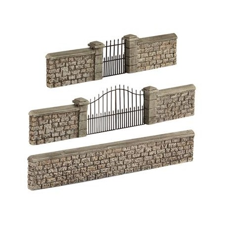 ** Bachmann 44-555 Scenecraft Stone Walls and Gates (Pre-Built)