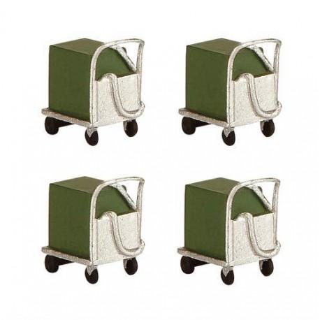 ** Bachmann 44-567 Scenecraft Coolant Trolleys 4pcs (Pre-Built)