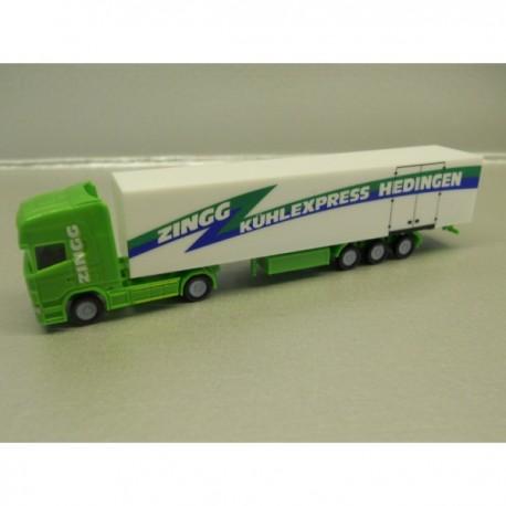"** Herpa 066129 Scania R TL Box Semitrailer ""Zingg"" (CH) ."