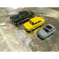 ** Busch 5995-1 3 x 1960's Cars Mercedes 230, Fiat 500, NSU 1000TT.