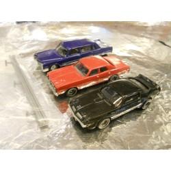 ** Busch 6001 3 x 60's-70 Cars  Cadillac Sedan. Dodge Monaco, Pontiac TransAm Firebird