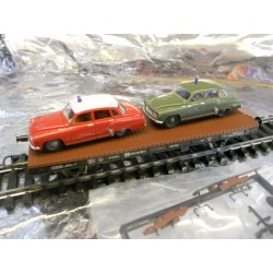 "** Liliput 221502  DR Flat Wagon with 2 cars "" Wartburg "" Era 3."