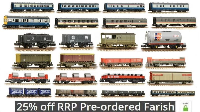 25% off RRP Pre-ordered Farish Locomotive, Wagons and Coaches