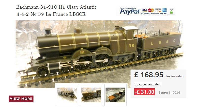 Bachmann 31-910 H1 Class Atlantic 4-4-2 No 39 La France LBSCR