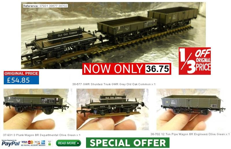 MDR Direct Offer IGK0001 - Bachmann 00 Wagons 1 x 12 Ton Pipe wagon - 1 x GWR Shunters Wagon - 1 x BR 3 plank Wagon