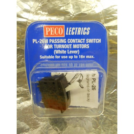 ** Peco PL-26W Passing Contact Switch for Turnout Motors (White Lever)