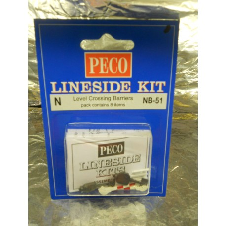 """** Peco NB-51  Level Crossing Barriers,  """"Pack contains 8 items""""."""