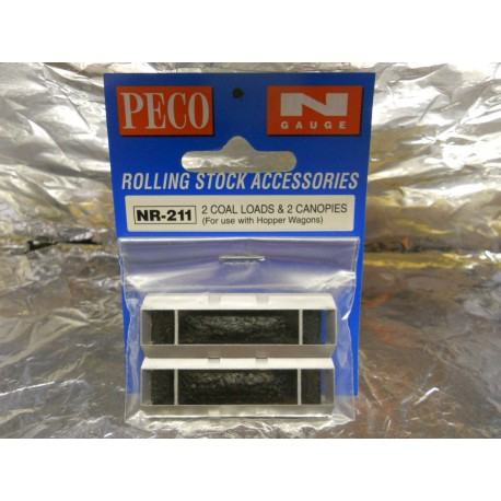 ** Peco NR-211  2 Coal Loads & 2 Canopies  (For use with Hopper Wagons)
