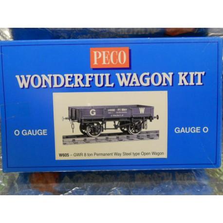 ** Peco W605 GWR 8 Ton Permanent Way Steel Type Open Wagon (O Gauge Kit)