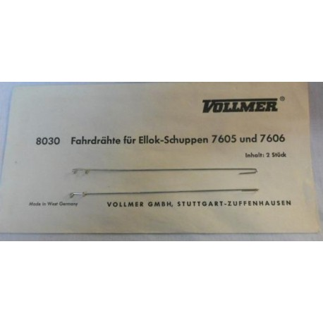 ** Vollmer 8030 2 x Wires for Vollmer Electric Locomotive Shed 7605 & 7606