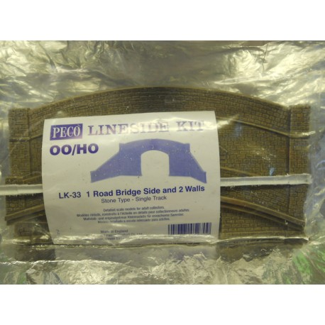 ** Peco LK-33 1 x Road Bridge  Side and 2 Walls, Stone Type - Single Track