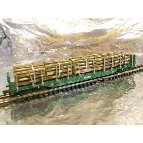 ** Fleischmann 825409 OnRail Rnoos Bogie Stake Wagon with Timber Load V