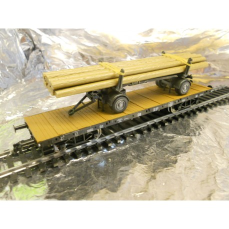 ** Fleischmann 825726 4 Axled Rung Wagon loaded with Wiking logs