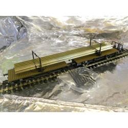 ** Fleischmann 5952 Pair of DB Type H 10 Cradle Trucks with rail load. Epoch 3