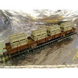 ** Fleischmann 57878705  Flat Wagon in NL livery with concrete barrier load. Epoch IV