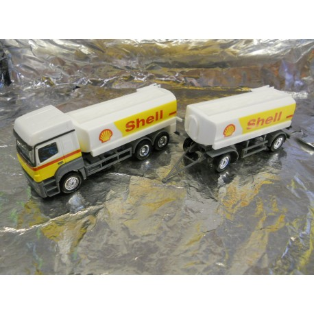 "** Herpa 156097 Mercedes Benz Axor Fuel Tank Semitrailer ""Shell"""