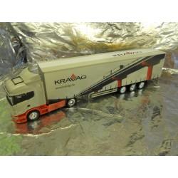 ** Herpa 288156 Scania R Jumbo Curtain Canvas Semi Truck Kravag