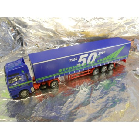 "** Herpa 282338 MAN TGA XXL Curtain Canvas Semitrailer ""Strauss"""