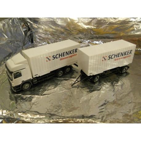 ** Herpa 151597 Mercedes Benz Actros L 02 Cargo Box Trailer Schenker Stinnes