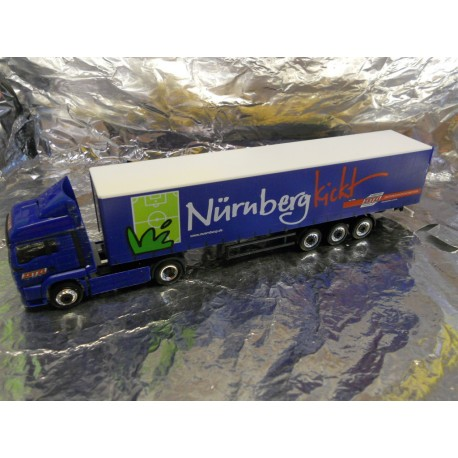 "** Herpa 280976 MAN TGA LX Curtain Canvas Semitrailer ""Nuernberg kickt"""