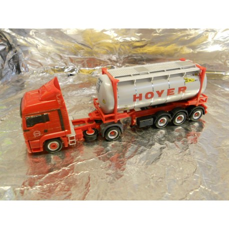"** Herpa 302708 MAN TGS LX Euro 6 Tank Container Semitrailer ""Hoyer"""