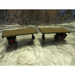 ** Oxford Diecast 76MH003T Pack of 2 Flat Trailers GWR 1:76 00 Scale