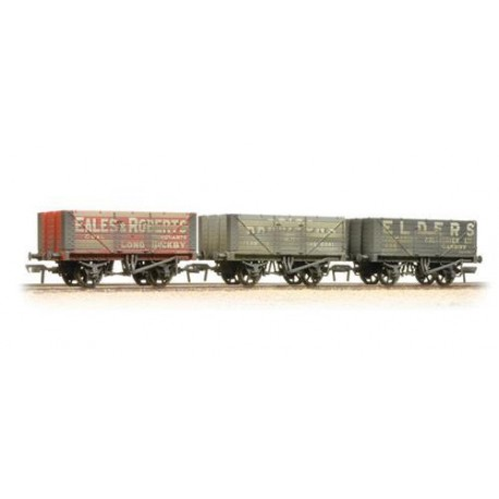 ** Bachmann 37-095A x 2 Coal Trader' Pack 7 Plank Private Owner Wagons Weathered