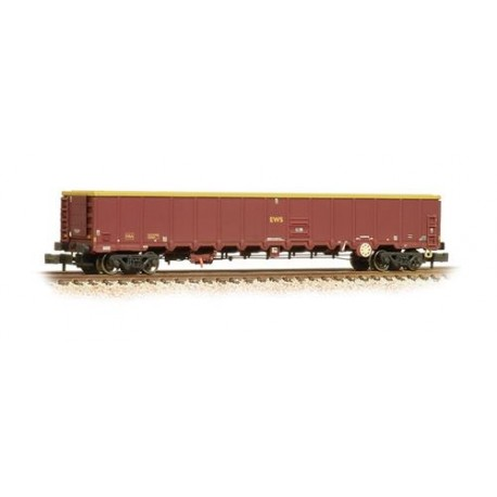 ** Graham Farish 377-650A x 2 MBA Megabox High-Sided Bogie Box Wagon EWS (with Buffers) Weathered