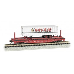 "** Bachmann 16751 x 1 52'6"" Flat Car Santa Fe with Navajo Freight Lines Trailer"