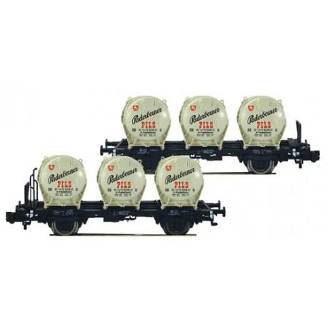** Fleischmann 823304 DB Padernborner Pils Round Container Wagon Set (2) III