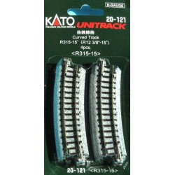 ** Kato 20-121 Unitrack (R315-15) Curved Track 15 Degree 4pcs