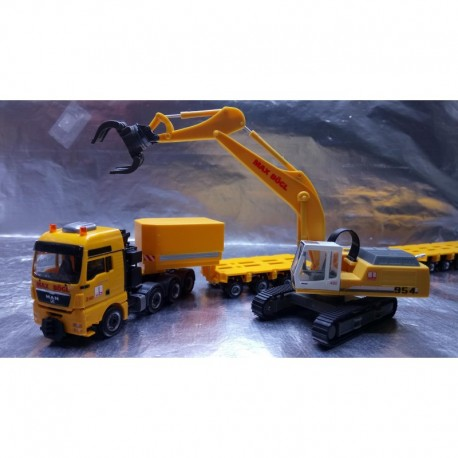 "** Herpa Trucks 307277 MAN TGX XXL 640 lowboy semitrailer with Liebherr 954 with sorting Grabs ""Max Bögl"""