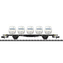 ** Minitrix 15742 DB Lbgjs598 Flat Wagon with Round Container Load IV