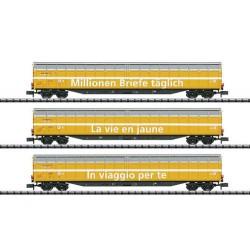 ** Minitrix 15799 SBB Habbiillnss Swiss Post Wagon Set (3) VI