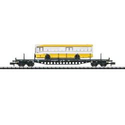 ** Minitrix 15861 DB Rs684 Bogie Flat Wagon with Bus Load IV