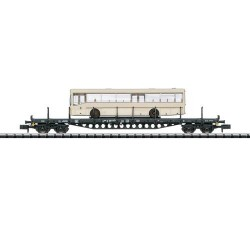 ** Minitrix 15862 DB Rs684 Bogie Flat Wagon with Bus Load IV
