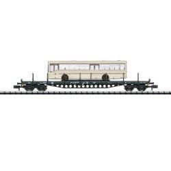 ** Minitrix 15862 DB Rs684 Bogie Flat Wagon with Bus Load IV